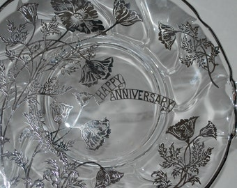 Cake tray glass and sterling anniversary tray     glass cake tray  dessert tray