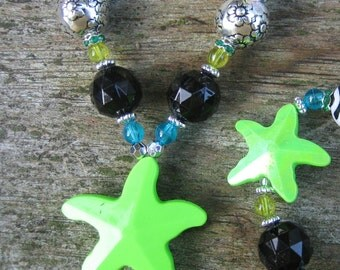 Electric Starfish Chunky Necklace: (Lime) little girl's power jewelry