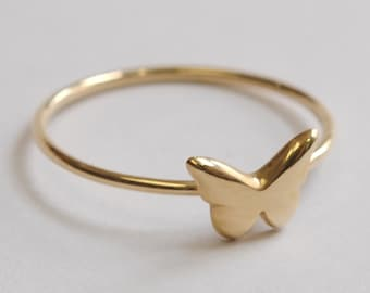 Solid 14K Morpho Butterfly Ring