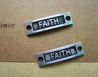 10pcs 34x9mm gun metal faith letter charms pendant C6002