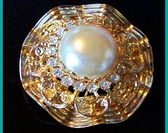 "Fashion Pearl Rhinestone Brooch Pin Layered Fancy Swirl Design Gold Metal 1 3/4"" Vintage"