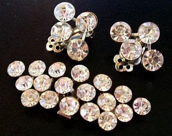 Rhinestone Earrings & Dress Clip Sparkly Clip Back Silver Metal Art Deco Vintage