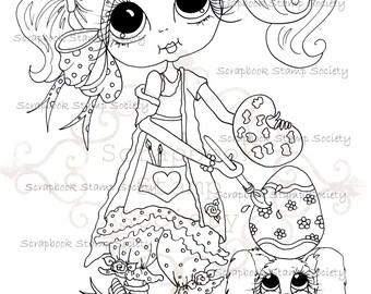 INSTANT DOWNLOAD Digital Digi Stamps Big Eye Big Head Dolls Digi   Besties Messy Tessy Cottontail IMG683 By Sherri Baldy