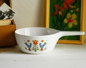 Corelle Corning Country Festival Saucepan BIRDS Spring Flowers Aqua Red Orange Lime RETRO Boho Cottage Microwave
