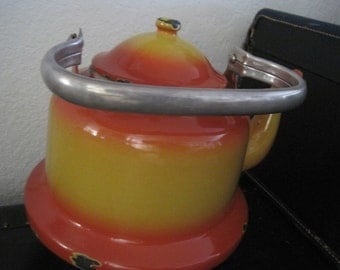 Huge Vintage Orange-red and Mustard-yellow Water Kettle with Gooseneck