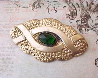 "Lovely Edwardian Era Brooch with Faceted Emerald Green ""Stone"""