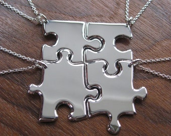 Four Silver Best Friend Puzzle Pendant Necklaces