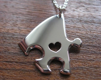 Silver Jigsaw Puzzle Piece Necklace Pendant