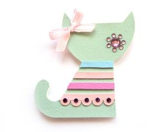 MINT pastel CAT BROOCH