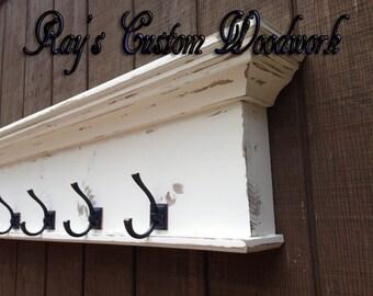 Coat rack wall shelf with hooks - towel hook shelf -