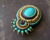Bead embroidery brooch Beadwork brooch Turquoise brooch Turquoise Purple Copper Beige Tribal Ethnic jewelry MADE TO ORDER