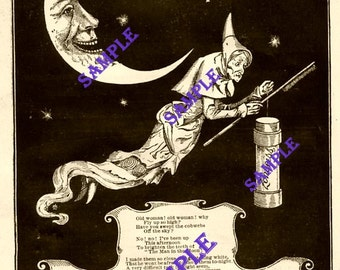 Digital Download-Vintage 1887 Zonweiss Ad with Moon and Witch