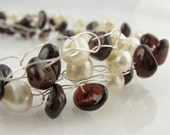 Garnet Crochet Necklace With White Freshwater Pearls