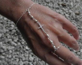 CZ cross slave bracelet sterling silver