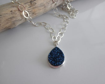 Blue drusy pendant on sterling silver chain