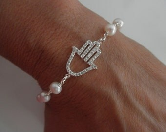 CZ sterling silver hamsa hand with freshwater pearls
