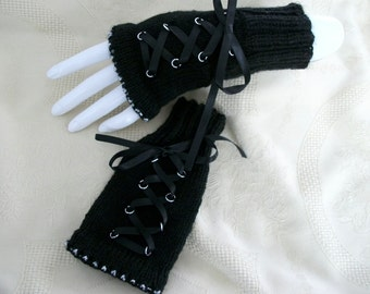 Steampunk gothic mittens fingerless gloves armwarmers black  silver hand knitted satin ribbon victorian womens clothing accessories