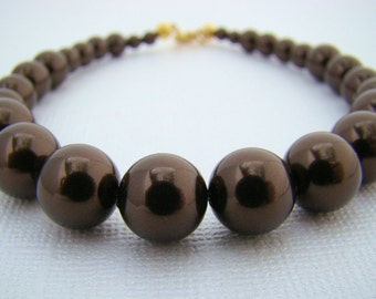 Bracelet, Graduated in Dark Brown Glass Pearls
