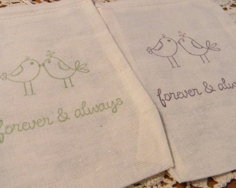 Set of 20 Hand stamped  Love Bird Quote Wedding Brial Shower Party Organic Muslin Gift Bags