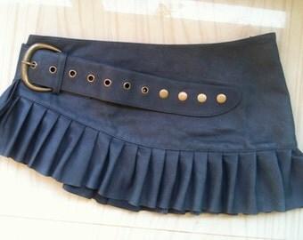 ON SALE!! Distressed blue leather mini skirt wrap around leather skirt adjustable