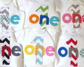 Design your own First Birthday Shirt Chevron one gift photo prop birthday party