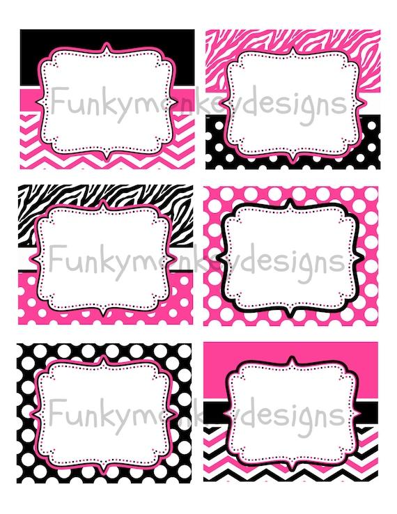 ... Party Digital PRINTABLE food labels Pink,Zebra,Black Polka Dots
