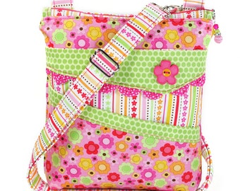 Small Crossbody Bag Hot Pink Lime Green Neon Flowers
