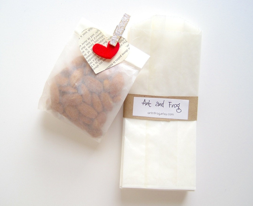 Small Wedding Gift Bags: 25 Glassine Covers SMALL Paper Bags Gusseted Goodie Bags
