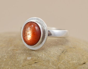 Sunstone Ring - Sterling Silver Bezel Setting - Size 7