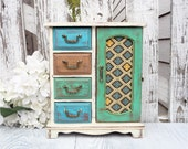 Teal / Green SHABBY CHIC Four drawer Jewelry box, Multi Colored Armoire - Medium Jewelry Box with Cabinet