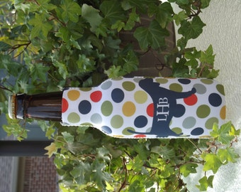 Polka Dot Pup Bottle Insulator with Zipper