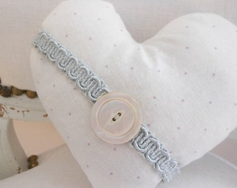 Lavender heart sachet, white cotton and vintage trim heart sachet with mother of pearl button