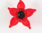 Floral Lampwork Bead Handmade Red Black SRA LE Team DUST Team AWHIMteam
