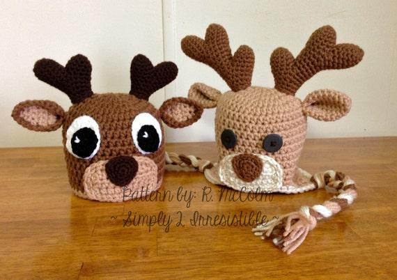 Deer or Elk Hat Crochet Pattern 58 US and UK Terms