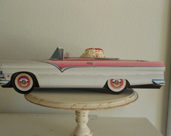 Retro  Vintage 55 Pink Ford Sunliner Food Box,Popcorn Box Kids Brithday Party Set of 5