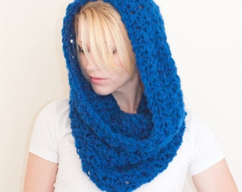 The CHARLOTTE cowl - Chunky Cowl Scarf Shawl Hood - Royal Blue - limited quantities