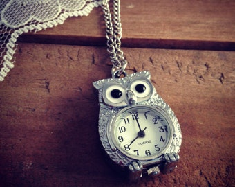 1 pc Vintage Style Owl Pocket Watch Necklace Pendant Chain Included Woodland Silver  V005