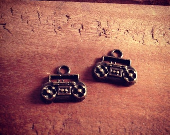 8 pcs Boombox Charm Radio Charm Boom Box Charm Small Charm Antique Bronze  (AV062)
