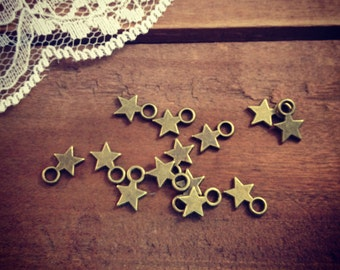 Small Star Charms Antique Bronze Small Charm Vintage Style Pendant Charm Jewelry Supplies (BA161)