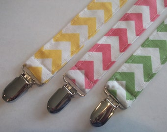 Fabric Pacifier Clip, Binky Clip, Pipe Holder, Chevron, Pink, Yellow, Green