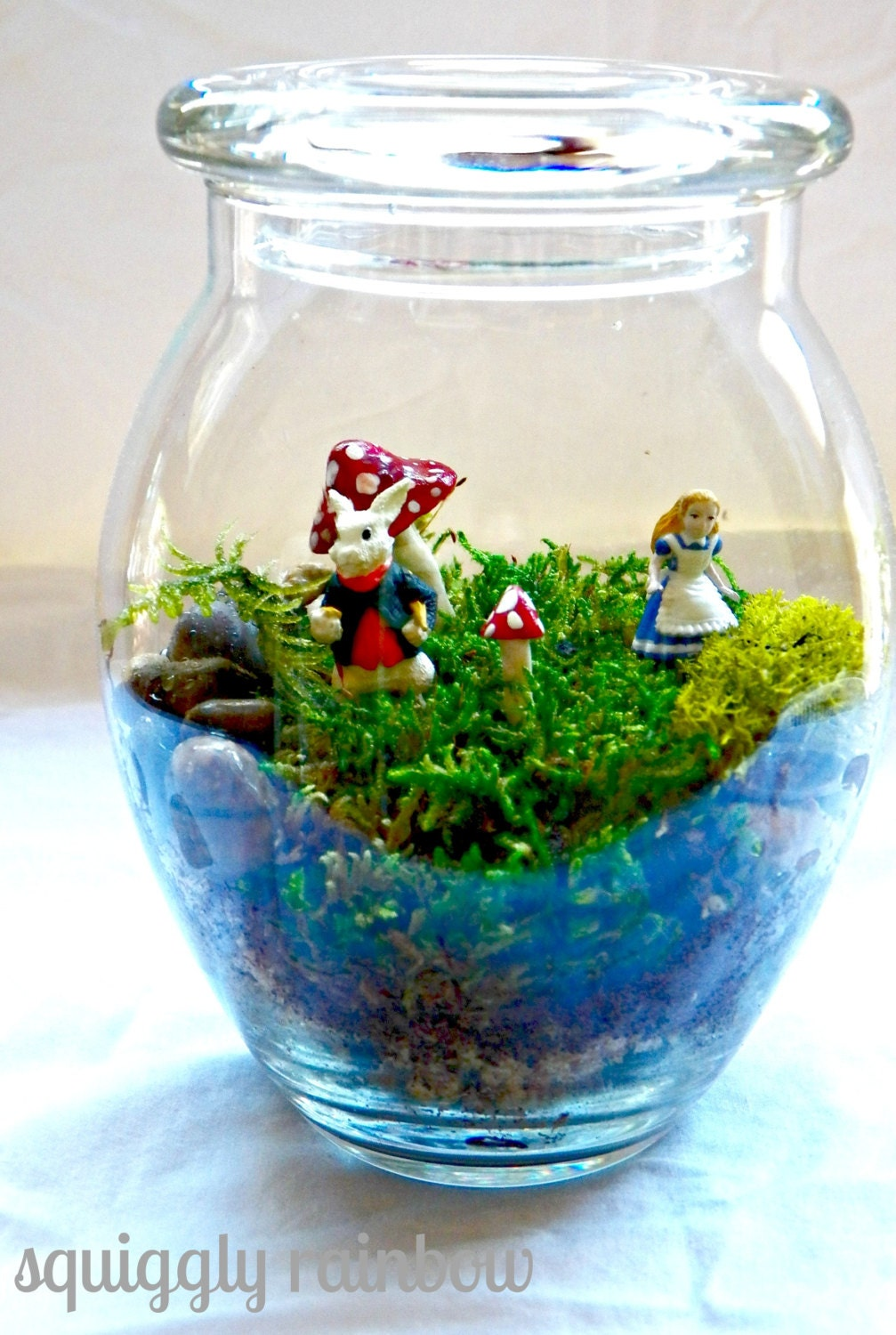 alice in wonderland terrarium mini miniature garden jar mushroom
