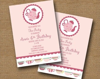 Tea Party Invitation | Girls Birthday Invitation | Pink Tea Party | Cute Teacups Invitation | Whimsical Tea Shower Invite | DIY PRINTABLE