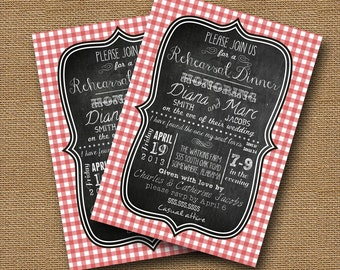 Rehearsal Dinner, Bridal Shower Picnic | Shabby Cottage Chic Invitation | DIY PRINTABLE | Gingham Chalkboard | Scripture, Bible Verse Card