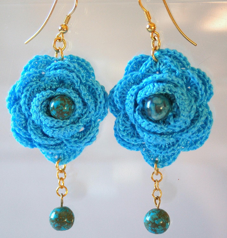 Crochet Hook Earrings: Blue Crochet Earring Crochet Earring Jewelry Large Crochet
