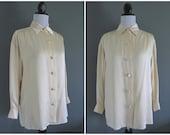 vintage 1990s ANNE KLEIN ivory silk blouse / tunic