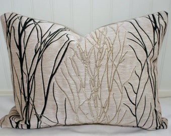 IN STOCK / Taupe and Black Embroidered Branches Pillow Cover / 14 X 18 / Hamilton designer upholstery with taupe cotton duck back
