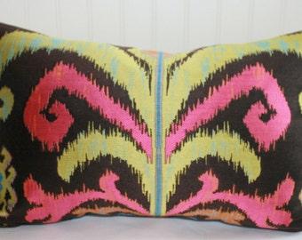 Black, Green, Pink Ikat Pillow Cover / 14 X 24 / Claridge Black Pearl Upholstery