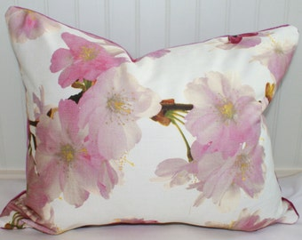 SALE / IN STOCK / Cherry Blossom Floral Pillow Cover / 16 X 20 / Designer fabric by Richloom with fushia velvet back