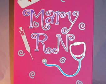 Hand Painted and Personalized Clip Board - Nurse