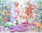 Mermaid Art Print, Mother and Child Angel Fish Mermaid with Angel Fishes, Seahorses in Coral Reef, 10.5 x14 art print